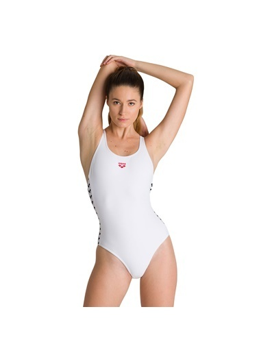 Arena W Team Fit Racer Back One Piece Kadın Beyaz Yüzücü Mayo 001610110 Beyaz